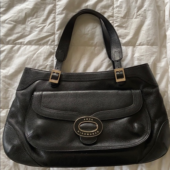 $2k ANYA HINDMARCH Black Leather Bag purse